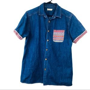 Another Influence slim fit washed denim shirt M